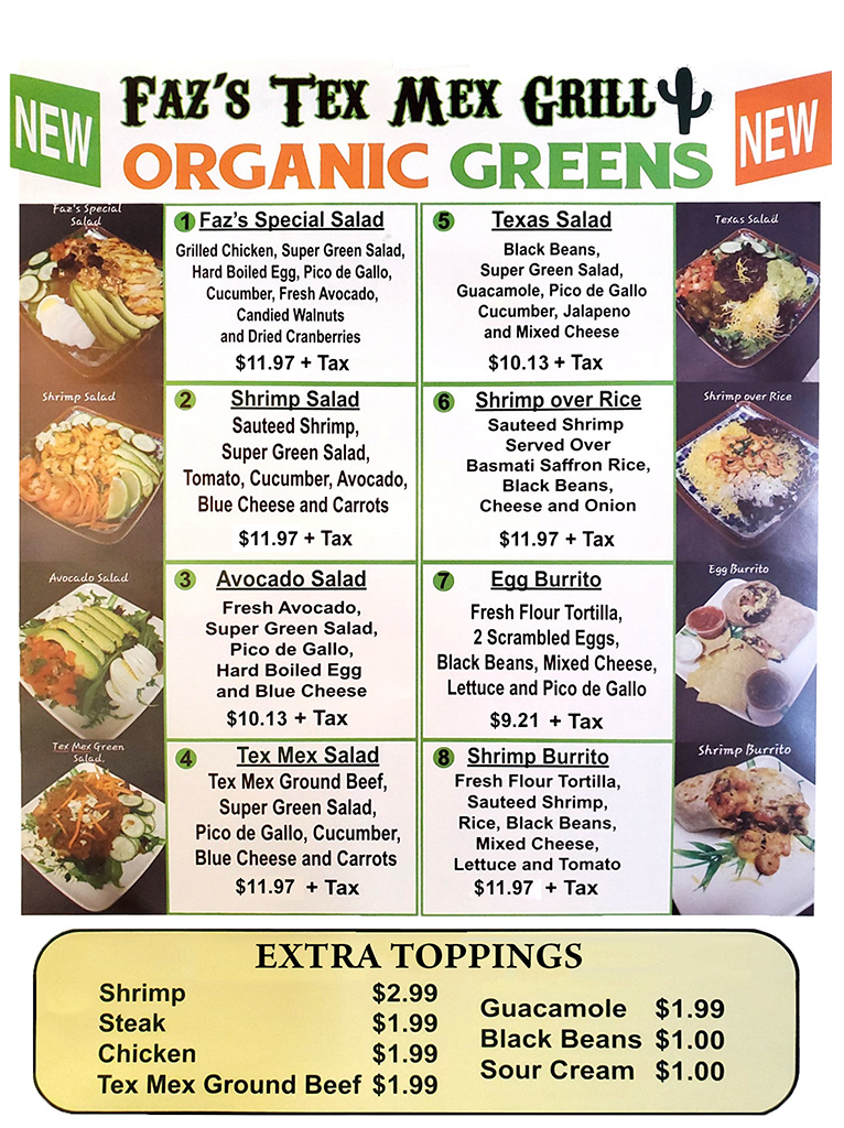 Tex Mex Organic Greens Menu